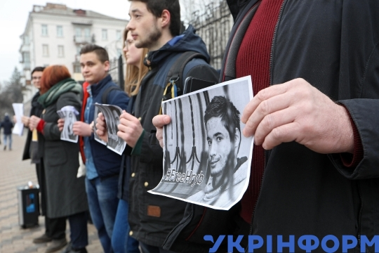 Protesters demand liberation of Pavlo Hryb near Russian Embassy