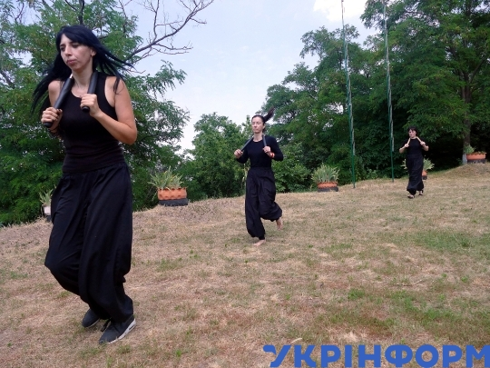 Martial arts practices at White Lotus Buddhist temple in Cherkasy