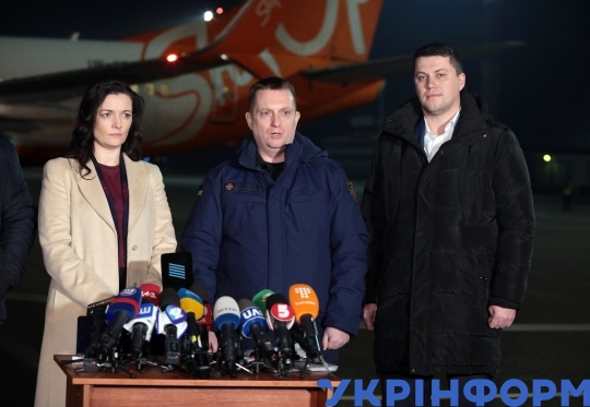 Briefing on evacuation of people from China at Boryspil Airport