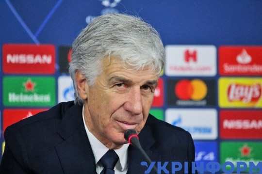 Atalanta's manager Gian Piero Gasperini speaks to press after 3-0 win over Shakhtar in Kharkiv