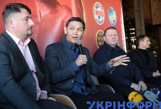 News conference of American kickboxer and actor Don Wilson in Kyiv