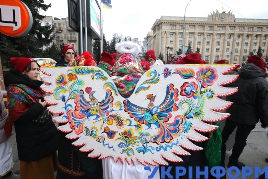 "Over one thousand Vertep Fest performers sing ""New Joy Has Come"" Christmas carol in Kharkiv"