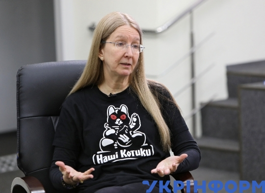 Ulana Suprun gives interview to Ukrinform correspondent