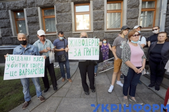 """Eating flesh of killed horses is barbarism"" action in Kyiv"