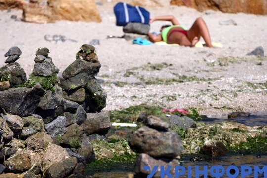 Rock garden appears at Dog beach in Odesa