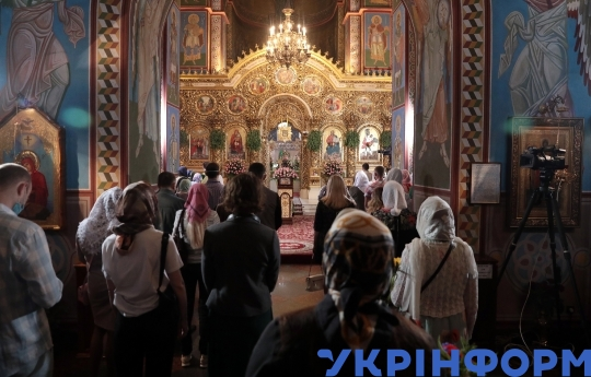 Pentecost service at St Michael's Cathedral in Kyiv
