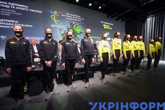 News conference before 2020 European Championships in Rhythmic Gymnastics in Kyiv